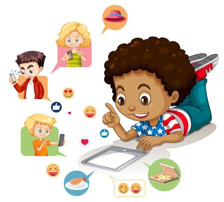 Children with social media elements on white background illustration