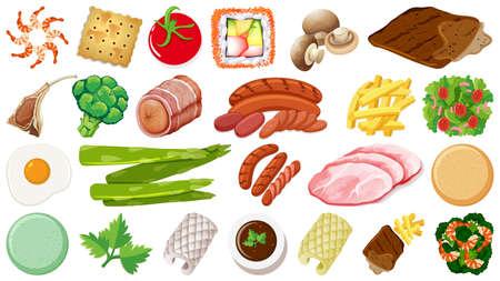 Set of fresh food ingredients illustration Vector Illustration