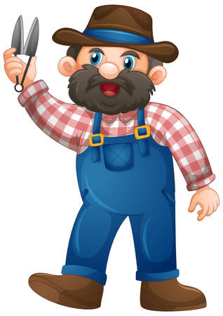 Old man in farmer uniform cartoon character on white background illustration