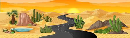Desert oasis with long road landscape scene illustration