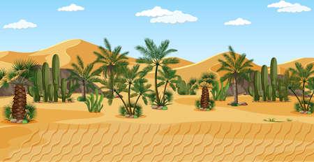 Desert with palms nature landscape scene illustration