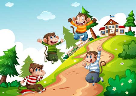 Four monkey wear t-shirt jumping in nature scene illustration