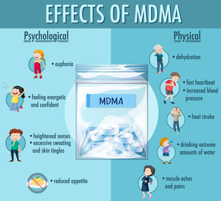 Effects of MDMA (ecstasy) infographic illustration