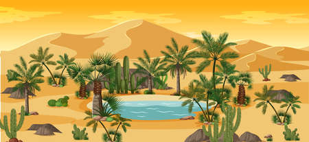 Desert oasis with palms and cactus nature landscape scene illustration