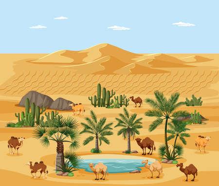 Desert oasis with palms and camel nature landscape scene illustration