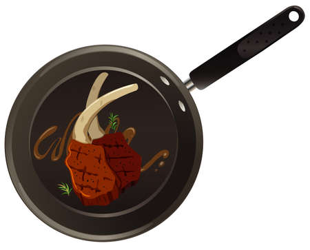 Aerial view of food on pan illustration