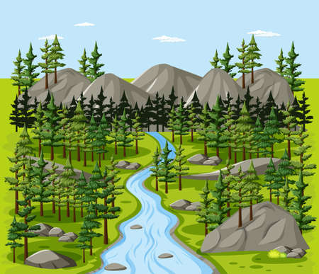 Forest nature landscape scene illustration