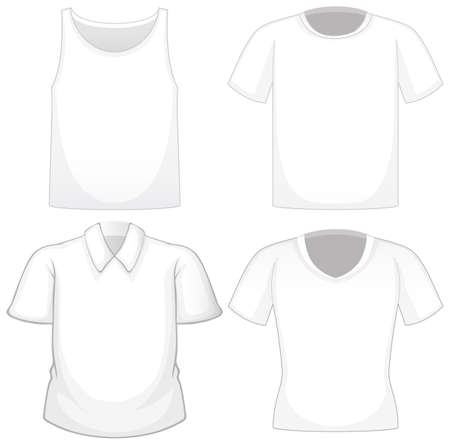 Set of different white shirts isolated on white background illustration