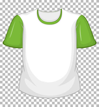 Blank white t-shirt with green short sleeves on transparent illustration