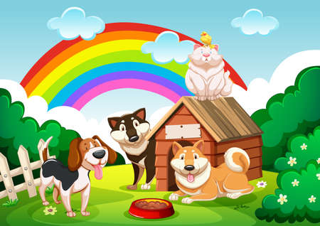 Dog group and a cat in the garden with rainbow scene illustration