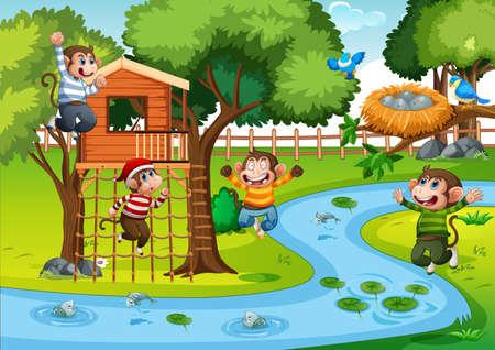 Five little monkeys jumping in the park scene illustration Ilustração Vetorial