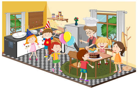 Children in the kitchen with party theme illustration