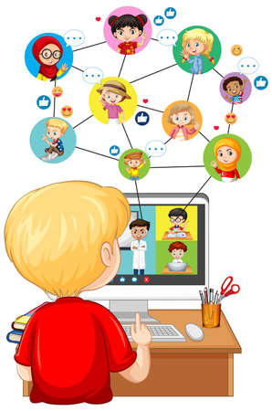 Back view of boy looking at computer for online learning on white background illustration Vetores
