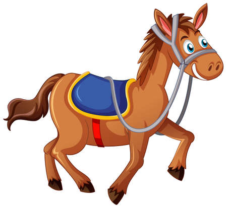 A horse with saddle cartoon character on white background illustration
