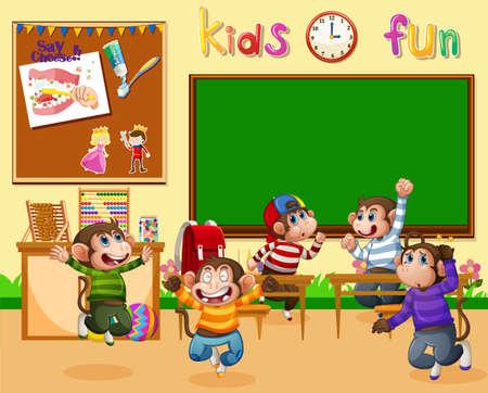 Five little monkeys jumping in the classroom illustration