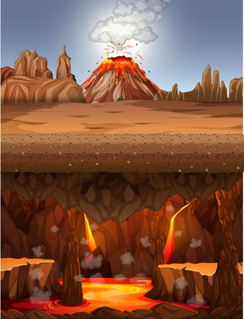 Volcano eruption in desert scene at daytime and infernal cave with lava scene illustration