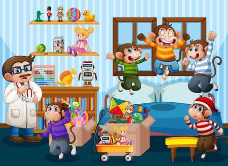 Five little monkeys jumping on the bed scene illustration