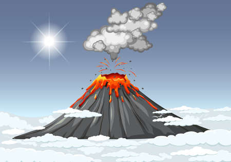 Volcano eruption in the sky with clouds scene at daytime illustration Illusztráció