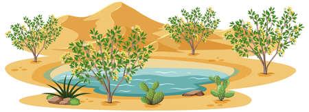 Creosote Bush plant in wild desert on white background illustration