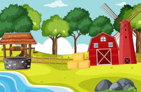 Barn and widmill in farm scene illustration