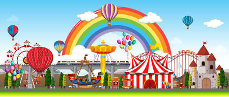 Amusement park scene at daytime with balloons and rainbow in the sky illustration Векторная Иллюстрация