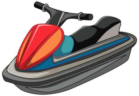 Jet ski or jet boat in cartoon style isolated on white background illustration Vektoros illusztráció