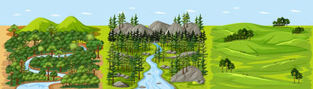Stream in forest nature landscape scene illustration Illusztráció