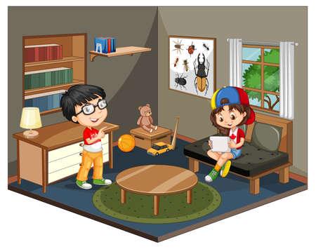 Kids in the living room scene on white background illustration