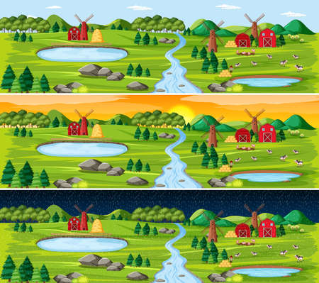 Farm with barn and windmill in nature landscape at different times of day illustration