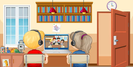 Back view of a couple kid communicate video conference with friends at home scene illustration