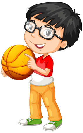 Cute youngboy cartoon character holding basketball illustration