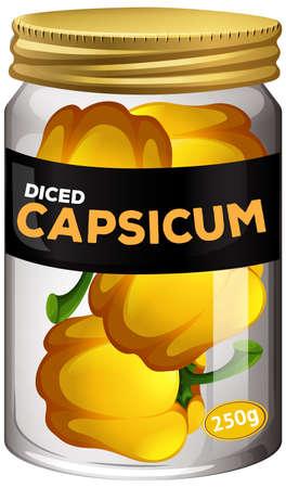 Diced capsicum preserve in glass jar illustration