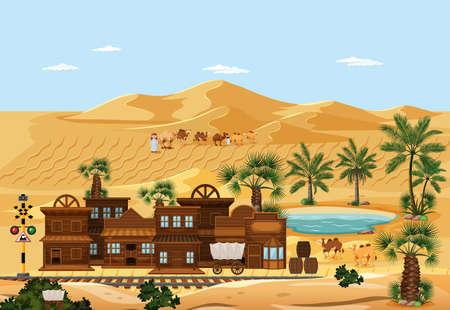 Town in desert nature landscape scene illustration Illusztráció