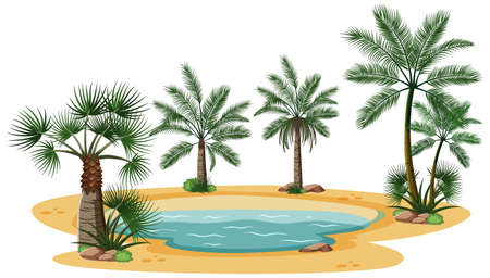 Desert landscape with nature tree elements on white background illustration