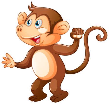 A cute monkey on white background illustration Ilustración de vector