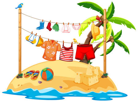Isolated summer clothes hanging outdoor illustration