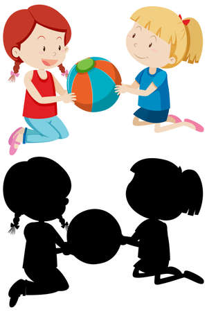 Two girls playing ball in color and silhouette illustration Illusztráció
