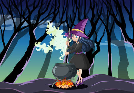 Young beautiful witch with black magic pot cartoon style on dark jungle background illustration