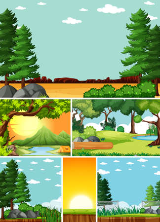 Six different scenes in nature setting cartoon style illustration