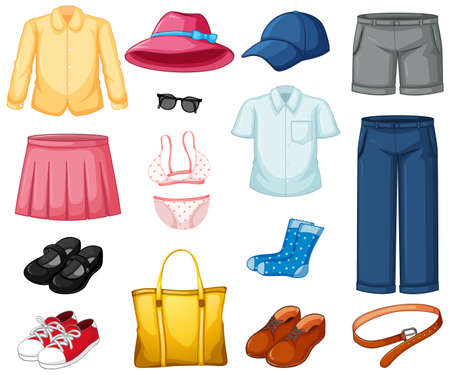Set of mix outfir isolated illustration