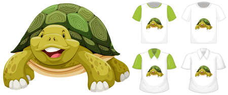 Turtle cartoon character with many types of shirts on white background illustration
