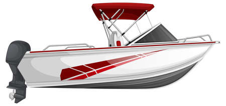 Speed boat or power boat isolated on white background illustration