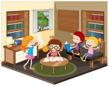 Happy kid doing homework in the living room illustration