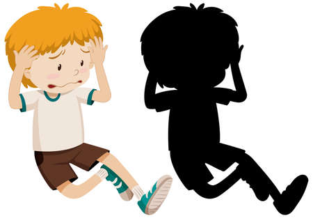 Boy sad disappointed in colour and silhouette illustration