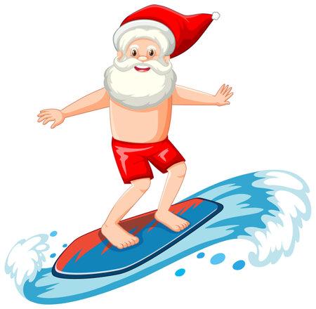 Santa Claus surfing in summer theme on white background illustration Vetores