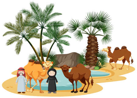Oasis in desert with camel and nature elements on white background illustration Illusztráció