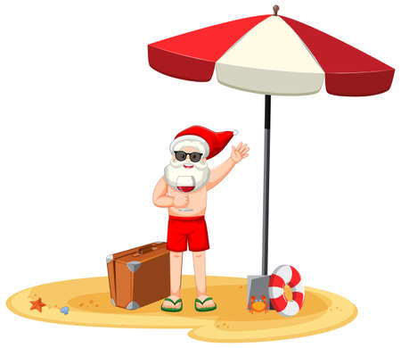 Santa Claus holding wine glass cartoon character in summer costume illustration