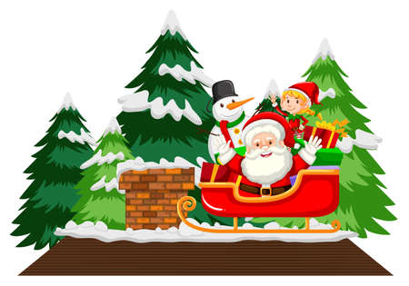 Santa Claus on sleigh with snowman and christmas tree on white background illustration