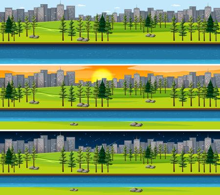 Nature landscape scene at different times of day illustration 矢量图片