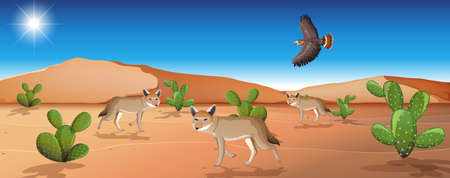 Wild desert landscape at daytime scene illustration